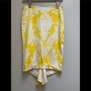 Marciano Guess White & Yellow Silk Print Skirt